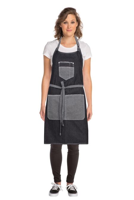 Bronx Black Denim Bib Apron W. Scoop Neck