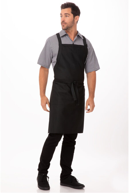 Cross Over Black Bib Apron
