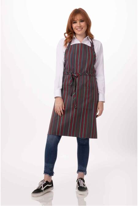 Adjustable Striped Bib Apron -DC