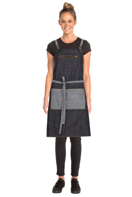 Manhattan Black Denim Cross Back Apron