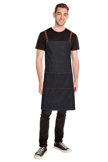 Memphis Black Denim Cross Back Apron