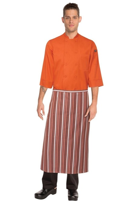 3/4 Orange/White/Brown Apron
