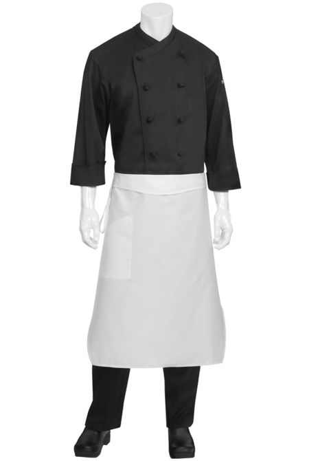 Tapered Apron with Flap & Pocket - White